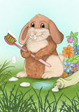 Now I`m going to brush my teeth. Bunny with toothbrush and toothpaste Royalty Free Stock Image