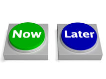 Now later Buttons Shows Urgency Or Delay Stock Photography