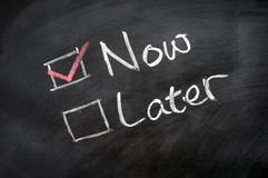 Now and Later Check Boxes Stock Photos