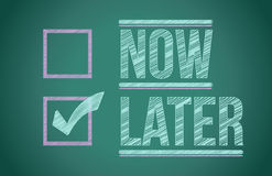 Now and Later check boxes Stock Photo