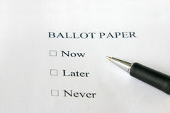 Now - Later or Never - You Decide. Now - Later - Never concept ballot paper Royalty Free Stock Photography