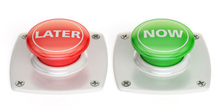 Now and later push button, 3D rendering. Isolated on white background stock illustration
