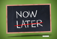 Now and later written on blackboard Stock Image