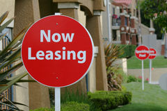 Now Leasing Sign. Apartment Building's Now Leasing Sign Royalty Free Stock Images
