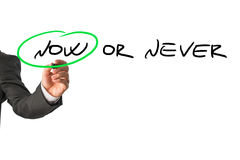 Now or never motivational message Stock Images