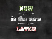 Now is the new later. Blackboard with concept take action now chalkboard Royalty Free Stock Photography