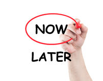 Now not later. Concept made on transparent wipe board with a hand holding a marker Stock Photos