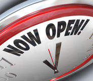 Now Open Clock Announcing Grand Opening Stock Photography