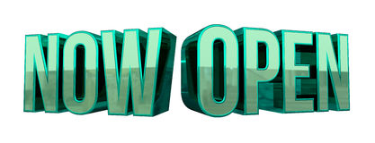 Now Open 3D Text. Shiny 3D text render the reads 'NOW OPEN' isolated on a white background Royalty Free Stock Photography