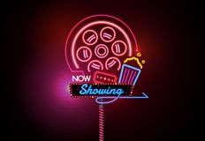 Now open glowing neon and bulb sign cinema movie theater vector. Illustration Stock Photo
