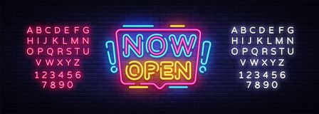 Now Open neon signs vector. Now Open Design template neon sign, light banner, neon signboard, nightly bright advertising. Light inscription. Vector stock illustration