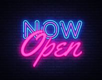 Free Now Open Neon Text Vector Design Template. Now Open Neon Logo, Light Banner Design Element Colorful Modern Design Trend Stock Images - 126969964