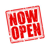 Now open red stamp text Stock Photography