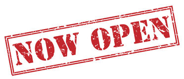 Now open red stamp Royalty Free Stock Photography
