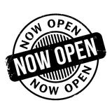 Now Open rubber stamp Royalty Free Stock Images