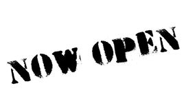 Now Open rubber stamp Stock Image