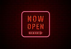 Now open sign neon and bulb on brick wall background. Vector illustration Stock Photos
