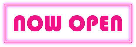 Now Open sign in Pink neon Stock Photos