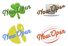 Now open signs on white Royalty Free Stock Photography