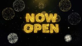 Now open text on gold particles fireworks display.