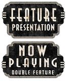 Now Playing Feature Presentation Movie Marquee Signs. Now Playing Feature Presentation Movie Marquee Sign double feature retro vintage 1950s old grunge antique stock illustration