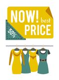 Now Price 50 Half Price Sale Special Offer Label. Now best price 50 half off sale special offer label discount tag with dresses on hangers, vector emblem Stock Photography