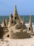 Now THAT'S a sandcastle!. Fantastic sandcastle on a tropical beach stock images