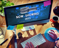 Now Showing Announcement Entertainment Time Concept. Now Showing Announcement Entertainment Time stock photos