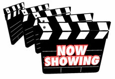 Now Showing Movie Film Clapper Boards Theatre. 3d Illustration Stock Photos