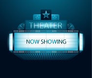 Now showing movie theater banner Royalty Free Stock Image