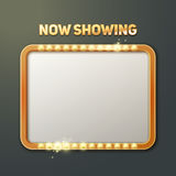 Now showing sign. Vector now showing sign with illuminated frame front view  on dark background Royalty Free Stock Image