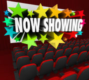 Now Showing Words Movie Screen Attend Viewing Event Webinar Audi. Now Showing words on a movie screen advertising a movie, film or online event such as a webinar stock illustration