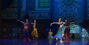 """Now singing, now dancing people- ballet """"One Thousand and One Nights"""" Royalty Free Stock Photos"""