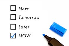 Now tomorrow next later Royalty Free Stock Photos