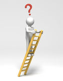 Now What?. 3D person at top of ladder with question mark (with Clipping Path Royalty Free Stock Images