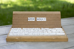 Now what?. The word now what? on an old school letter box Royalty Free Stock Image