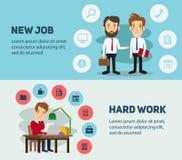 Nowa akcydensowa rewizja i stres pracujemy infographic officemates ilustracji