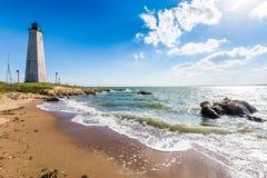 Nowa Anglia latarnia morska w latarnia morska punktu parku w Nowym przystań przeciwie Fotografia Royalty Free