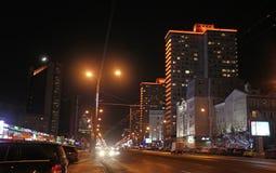 Nowa Arbat ulica w Moskwa nocą Obraz Royalty Free