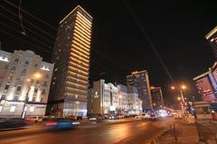 Nowa Arbat ulica w Moskwa nocą Zdjęcie Stock