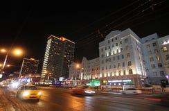 Nowa Arbat ulica w Moskwa nocą Obraz Stock