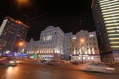 Nowa Arbat ulica w Moskwa nocą Fotografia Stock