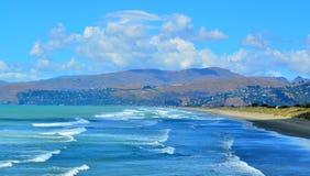 Nowa Brytyjczyk plaża Christchurch, Nowa Zelandia - Obrazy Stock