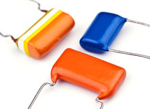 Nowa elektroniczna capacitor grupa obraz stock