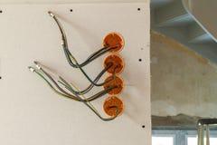 Nowa elektryczna instalacja, gniazdkowy elektryczny i Fotografia Royalty Free