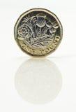 Nowa Funtowa moneta - frontowa strona Obraz Stock