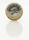 Nowa Funtowa moneta - królowa elżbieta ii Obrazy Royalty Free