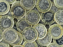 Nowa Funtowa moneta - zgłębia stos Zdjęcie Royalty Free