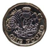 Nowa 1 funtowa moneta, Zjednoczone Królestwo odizolowywał nad bielem Zdjęcia Stock