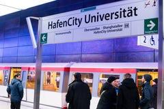 Nowa Hafencity stacja w Hamburg Zdjęcia Stock